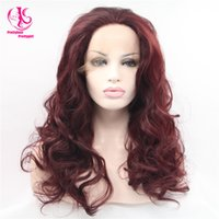 Wholesale Auburn Hair Pictures - Cool! Free shipping! long body wave Wig picture color Synthetic Lace Front Wigs glueless hair wigs Heat Resistant Hair Wigs