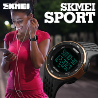 Wholesale Glass Alarm - SKMEI Digital Wristwatches Women Outdoor Sport Watches Chronograph Fashion Clock PU Band Waterproof Wholesale Watch 1219