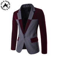 Wholesale Mens Import Clothing - Wholesale- 2016 Mens New Blazer Dark Grey Slim Fit Suits Jacket Stand Collar Slim Fit Cotton Outwear Imported Clothing Men Casual Blazers