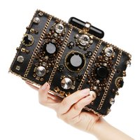 Wholesale Pearl Ring Clutches - Wholesale-2016 Fashion Beaded Women Clutch Full Pearl Diamond Ring Bridal Bag Wedding Party Clutch Chain Shoulder Black Evening Bag L288