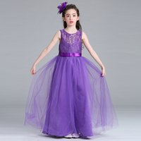 Wholesale Lace 5t Dress - hot 2017 nonsleeve one piece kids long lace dress children girls colorful lace dress