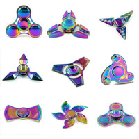 Wholesale 2017 EDC Fidget Hand Spinner Stress Relief Toys Rainbow Color Zinc alloy DC Hand Fidget Spinner in Retail Box
