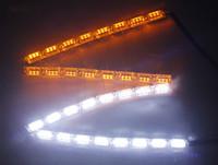 focos de tornillo al por mayor-Nuevo Crystal Flowing Vinstar LED DRL Luz diurna de alta potencia Flexible LED Luz diurna Luz de giro Blanca / Ámbar Strechable