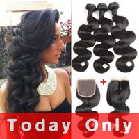 Wholesale Natural India Hair - Cambodian India Mongolian Brazilian Hair Virgin Hair 3 Bundles With Closure Body Wave Human Hair Extensions Natural Color Can Be Dyed