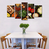 Wholesale food art pictures - 5 Picture Combination Wall Art Table Top Full Of Fresh Vegetables Fruit And Other Healthy Foods Print On Canvas For Home Decoration