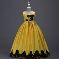 Wholesale Luxury Party Dresses Girls - Floor Length Dresses Girls Hot Sale Clothing Fashion Colour Yellow Gowns Prom Princess Party Embroidery Luxury