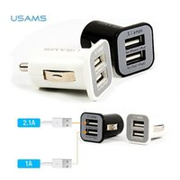 Wholesale port vehicles - High Quality USAMS Micro 3.1A Dual USB Ports Car Charger Vehicle Adapter for iPhone iPod iPad Samsung Durable Black White Adapter 200pcs