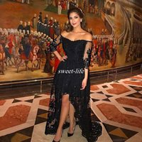 Wholesale Long Purple Sparkly Homecoming Dress - Black Lace Hi Lo Prom Dresses Plus Size Sparkly Sequins Backless 2017 Off Shoulder Homecoming Party Queen Dress Arabic Women Evening Gowns