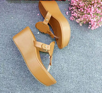 Wholesale Sheepskin High Slippers - Jhe03 Fashion Brand Tan Sheepskin Genuine Leather Sandals Outdoor Flip Flop Wedge High Heel Slippers Casual Lady Women Shoes Sz 35-42
