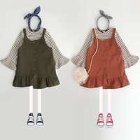 Wholesale Girls Tee Shirt Dress Wholesale - Everweekend Baby Girls Stripes Tees Shirt and Suspender Dress Sets Flare Sleeves Tops+Slip Dress Autumn Outfits