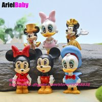 Wholesale Donald Duck Wedding - New 6PCS Mickey Minnie Donald Duck Gold Model Action Figure Toy Wedding Decoration Kids Gifts Brinquedos Juguetes