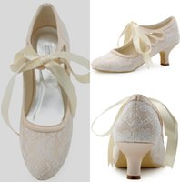 Wholesale White Closed Toe Satin Heels - Women's Shoes Satin Upper Middle Spool Heel Closed Toe Spool Heel Pumps With Ribbon Tie Wedding Bridal Shoes