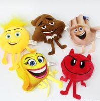 Wholesale Soft Toys Keychain - The Emoji Movie Key ring backpack Pendant cartoon Emoji plush Keychain Emoji Movie Soft Stuffed Toys Doll Keychain 10 cm KKA2028