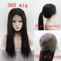 Wholesale Ponytail Wig Brown - Long Straight High Ponytail 360 Lace Frontal Wig Pre Plucked 130 Density Brazilian Virgin Human Hair Wigs Sew in 360 Lace Wigs
