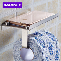 Wholesale Tissue Box Stainless - Stainless Steel Bathroom Paper Phone Holder with Shelf Bathroom Mobile Phones Towel Rack Toilet Paper Holder Tissue Boxes