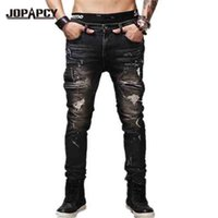 Wholesale loose fitting coats - Wholesale-New 2016 Spring Brand Men Ripped Hole Denim Pants Black Slim Fit Steetwear Hip Hop Vintage Distressed Jeans Plus Size MYA0402