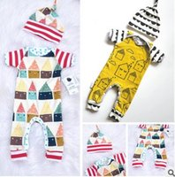 Wholesale Little Girl Cute Outfits - baby clothes Little House Printed Cotton Boys Romper +Hat Summer Cute Toddler Clothing Sets boutique kids clothes Girl Outfits 7484
