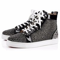 MBSn999Zp Taille 35-47 Hommes Femmes Noir Suede Leopard Print Cuir véritable avec strass High Top Fashion Sneakers, Red Bottom Casual Shoes