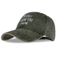Wholesale bitch hat for sale - Group buy Baseball Caps Bitch I Know You Know Letter Embroidery Snapback Cap Brand Men Dad Hat Female Winter Bone Masculino
