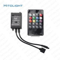 reguladores de luz 12v al por mayor-HITOLIGHT DC12-24V 6A Controlador de música LED RGB Audio Sensible al sonido para tira de LED RGB con 20 teclas IR remoto para LED Ribbion negro