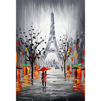 Wholesale Oil Painting Paris - Handmade Modern Abstract City Canvas Picture Eiffel Tower Paris France Cityscape Signed Oil Painting Hand-painted Wall Artwork