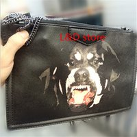 Wholesale Rottweiler Bag - 2017 new fashion women Bambi Rottweiler Dog bag wallet day Clutches Leather Evening Bags chain bag