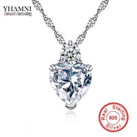 Wholesale Diamond Heart Pendant - YHAMNI Heart Pendant Necklace 925 Sterling Silver Women Necklaces Wedding Diamond Crystal Collares Colar Jewerly XN29