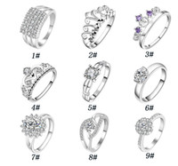 Wholesale Couple Rings Swiss Diamond - Silver Plated Couple Rings High Quality crystal crown Rings 925 Sterling Silver jewelry Swiss Diamond Ring For women free shipping