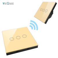 interruptor de luz remoto 433mhz venda por atacado-Venda por atacado - VHOME transmissor de controle remoto inteligente 433MHZ Ha + UE / UK padrão Crystal Glass Penal toque Wall Light Switch WIFI por broadlink