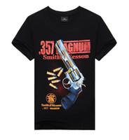 Wholesale Cool Novelty Guns - 2017 New Fashion Men's Cool 3D Print Gun Cotton Brand T Shirt Men 3D Tshirt Clothes Causul T-Shirts