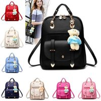 Wholesale Bolsas Backpack - Women Leather Backpacks Bolsas Mochila Feminina Large Girls Schoolbag Travel Backpack Solid Candy Color Female Backpacks DHL Free Shipping