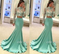 Wholesale See Through Lace Shirts - 2017 Charming Mint Green Mermaid Evening Dresses Illusion Bodice Two Pieces See-Through Long Sleeve High Neck Long Prom Dresses