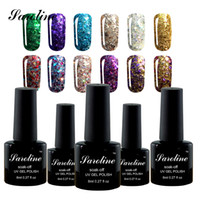 Wholesale Nails Polish Gold - Wholesale-Saroline Diamond Glitter UV Nail Gel Permanente Vernis a Ongle Nail Gel Faster Primer 8ML Fast Delivery cheap
