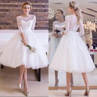 Wholesale Informal Bridal Gowns Dresses - 2017 Charming Knee Length Wedding Dress Informal Short Summer Lace Tulle Bridal Gowns with Illusion Neck and Sash