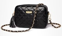 Wholesale Oblique Zipper - new Fashion woman Small bag female package tassel soft face retro Ling grid shoulder Messenger bag chain oblique packet