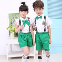 Wholesale Tie Downs Straps - 2pcs summer children's clothing short-sleeved suit boy shirt strap shorts girl bow tie tie white shirt fashion 2017 new hot sale