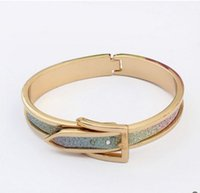 Wholesale Europe and the United States all match new trend of simple and elegant sparkling Vintage Belt Buckle Bracelet