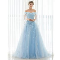 Wholesale Crytal Long Prom Dress - Off Shoulder Blue long prom dresses With Shawl Lace Up Evening Gown Lace Flowers Applique Crytal Pearls Beaded Cheap Evening Dresses