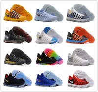 Wholesale Kd Easter Basketball Shoes - 2017 Top quality KD 10 X Correct Version Warriors Basketball Shoes for Kevin Durant 10s Airs Cushion KD10 Athletic Sports Sneakers US 7-12