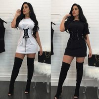 Wholesale Sexy Party Tunic Tops - 2017 Summer Black Short Sleeve Long Sexy Tunic Tops For Women Slim Fit Crew Neck Elastic White Blouse Night Club Party T Shirts Tees