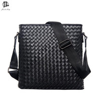 Wholesale Men Laptop Messenger Bags - Wholesale- New Men Genuine Leather Briefcase Computer Laptop Bag Brands Business Weave Messenger Portfolios Daily Handbag Travel Bags