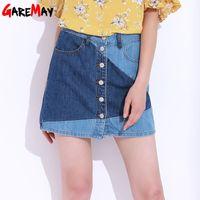 Wholesale Short Skirt Jeans Women - Denim Skirt For Women High Waist Short Slim Causal Jeans Skirt Button A-Line Saia Mini Fashion Denim Skirt Ladies GAREMAY 8989