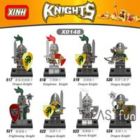 Wholesale Toy Warrior Knights - 8pcs High Quality Medieval Knights Super Heroes Gladiatus Figures Kingdom Knight Frieghtening Dragon Knight Warrior Building Blocks Toy Gift