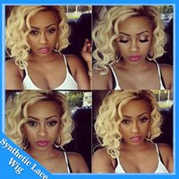 Wholesale Wigs Blonde Curly - short loose curly hair lace front wig for black woman bob 14-20inch black ombre blonde 1b# 613# kinky curly synthetic wigs Heat Resistant