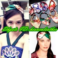 Wholesale New Popular - 2017 US and EU popular !!!! Original package New classic colorful Headband, women's 100% silk headbands, Top grade silk.