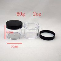Wholesale Empty Bottles 2oz - 60g round empty transparent cosmetic plastic jar   container   bottles,2oz mask cosmetic packaging DIY containers 60ml 24pc lot