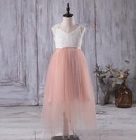 Wholesale Peach Baby Dress - 2017 Junior Long Bridesmaid Dresses Lace Top White Peach Flower Girl Dress A Line Baby Lace Girl Dress Open Back Dress Floor Length