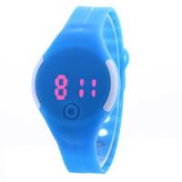 ingrosso orologio da tavolo rotondo-Il nuovo round di commercio estero LED touch screen orologio elettronico moda studente tavolo di gelatina PU braccialetto regali promozionali tavolo
