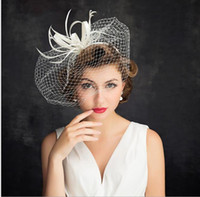 Wholesale Ladies Church Hats Cheap - Elegant Ivory Wedding Bridal Hats For Ladies 2017 Fashion Face Bridal Veils , Church Hats ,Kenturcky Sinamay Hats Cheap
