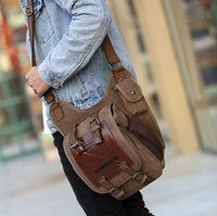Wholesale small sling shoulder bags men - Men Canvas Bag Outdoors Will Travel Fashion Shoulders Package Military Camping Cross Body Sling Messenger Shoulder Crossbody Bags KKA2327